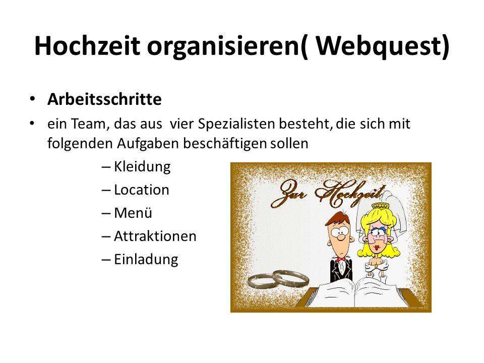 Hochzeit organisieren( Webquest) Arbeitsschritte ein Team, das aus vier Spezialisten besteht, die sich mit folgenden Aufgaben beschäftigen sollen – Kl