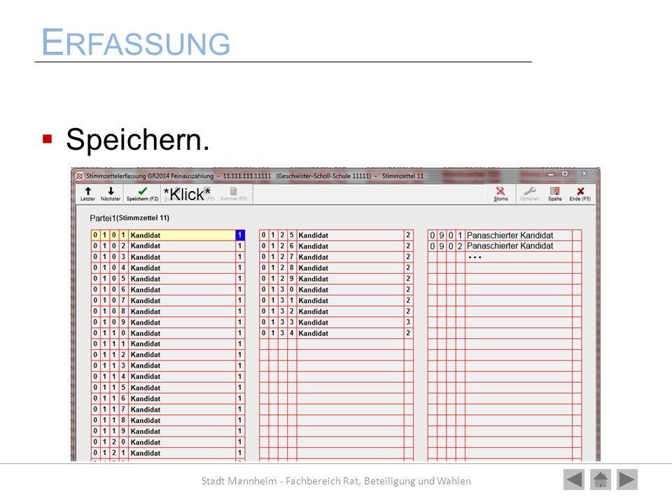 E RFASSUNG Speichern. Stadt Mannheim - Fachbereich Rat, Beteiligung und Wahlen *Klick*