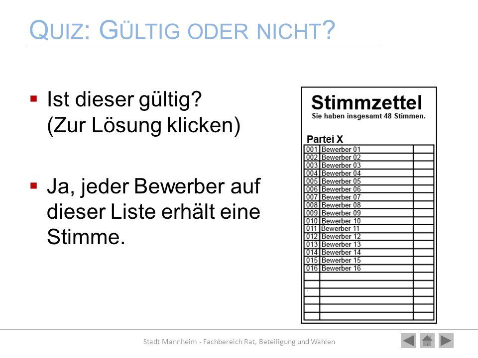 Q UIZ : G ÜLTIG ODER NICHT ? Ist dieser gültig? (Zur Lösung klicken) Ja, jeder Bewerber auf dieser Liste erhält eine Stimme. Stadt Mannheim - Fachbere