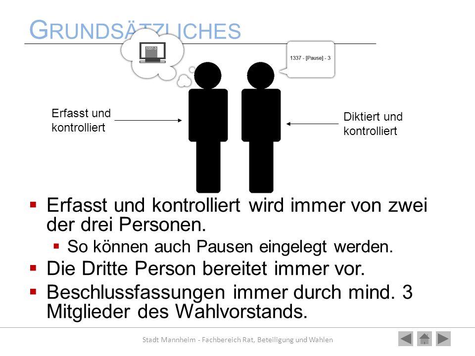 G RUNDSÄTZLICHES Erfasst und kontrolliert wird immer von zwei der drei Personen. So können auch Pausen eingelegt werden. Die Dritte Person bereitet im