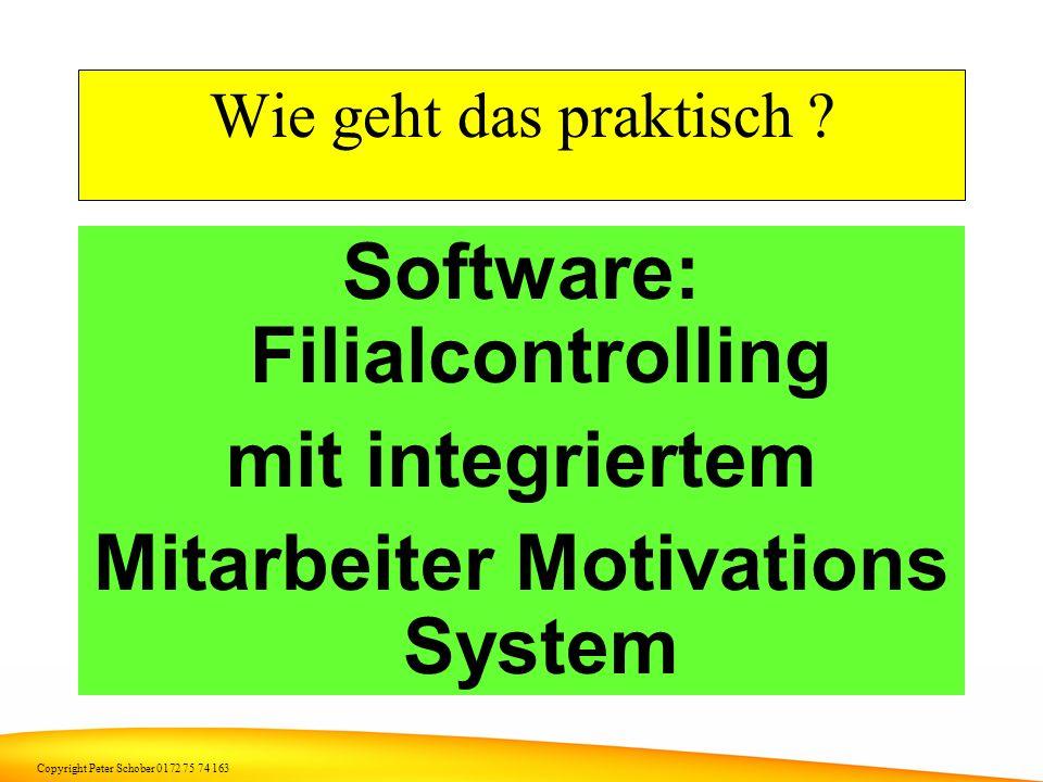 Copyright Peter Schober 0172 75 74 163 Wie kann man Motivation verbessern ? So natürlich nicht Aber so: Leistungsabhängiger Prämienlohn