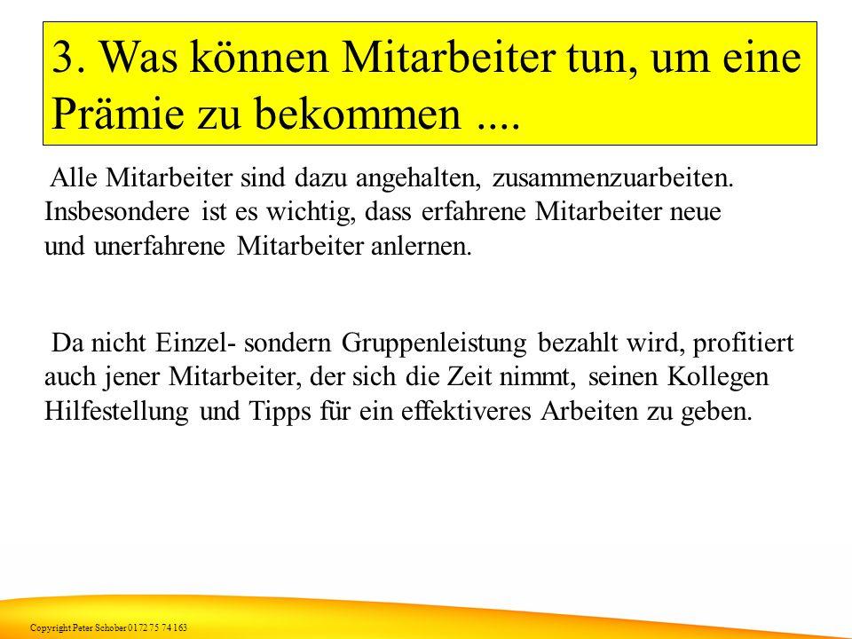 Copyright Peter Schober 0172 75 74 163 2. Was können die Mitarbeiter tun, um eine Prämie zu bekommen.... Die verantwortlichen Mitarbeiter sollten vers