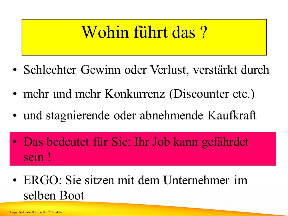 Copyright Peter Schober 0172 75 74 163 Warum nehmen Sie (und wir alle) den einfachen Weg ? Sie optimieren Ihren Aufwand, weil... Sie für Anwesenheit b