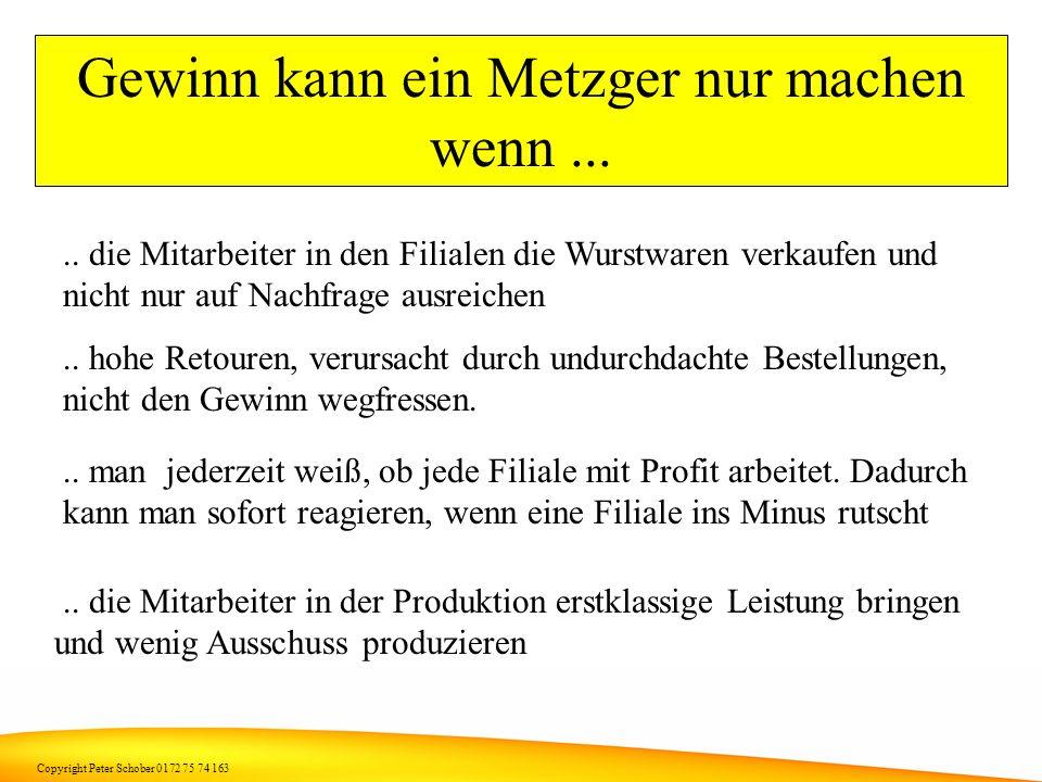 Copyright Peter Schober 0172 75 74 163 Wir wollen das ändern Denn ein gutes Geschäft setzt voraus, dass alle davon profitieren ! Anders ausgedrückt, d