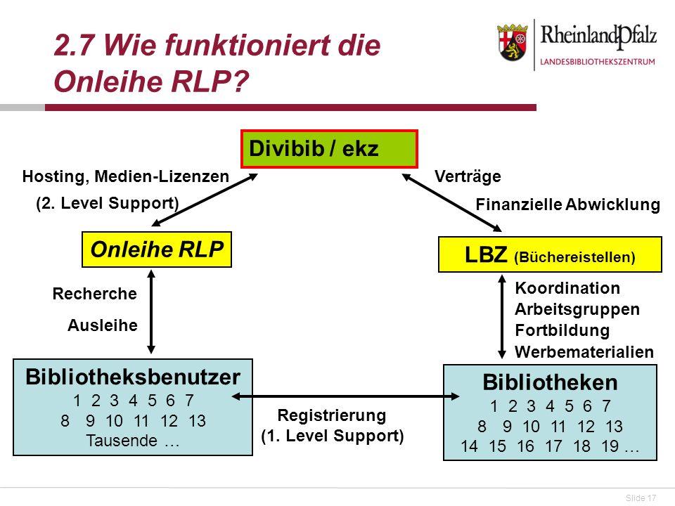 Slide 17 2.7 Wie funktioniert die Onleihe RLP? Divibib / ekz Onleihe RLP Bibliotheken 1 2 3 4 5 6 7 89 10 11 12 13 14 15 16 17 18 19 … LBZ (Büchereist