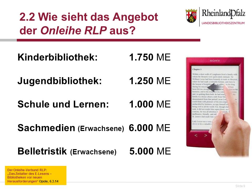 Slide 9 Kinderbibliothek: 1.750 ME Jugendbibliothek: 1.250 ME Schule und Lernen: 1.000 ME Sachmedien (Erwachsene) 6.000 ME Belletristik (Erwachsene) 5