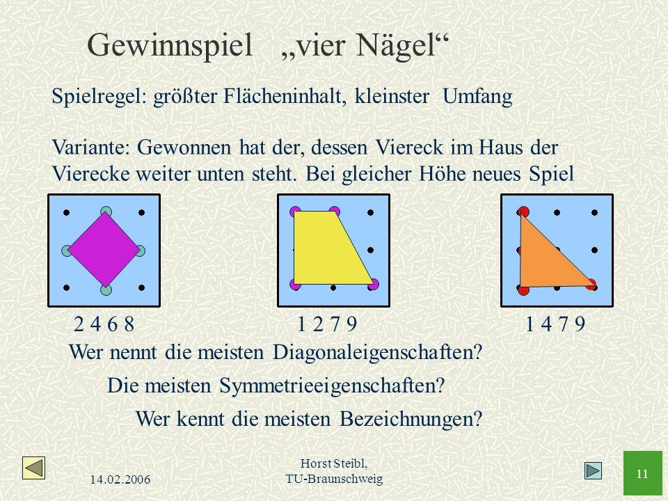 14.02.2006 Horst Steibl, TU-Braunschweig 11 Gewinnspiel vier Nägel Variante: Gewonnen hat der, dessen Viereck im Haus der Vierecke weiter unten steht.