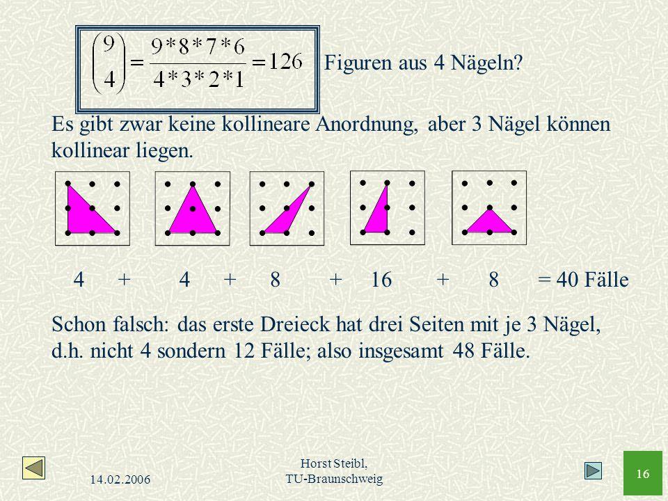 14.02.2006 Horst Steibl, TU-Braunschweig 16 Figuren aus 4 Nägeln? Es gibt zwar keine kollineare Anordnung, aber 3 Nägel können kollinear liegen. 4 +4