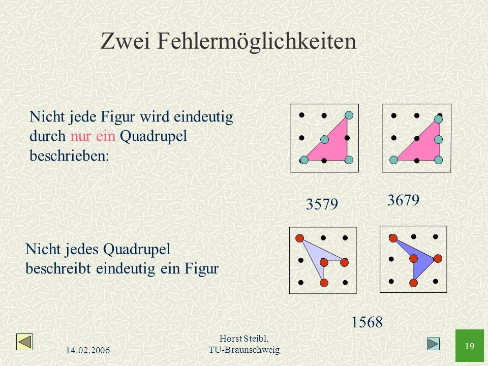 14.02.2006 Horst Steibl, TU-Braunschweig 19 Zwei Fehlermöglichkeiten Nicht jede Figur wird eindeutig durch nur ein Quadrupel beschrieben: Nicht jedes