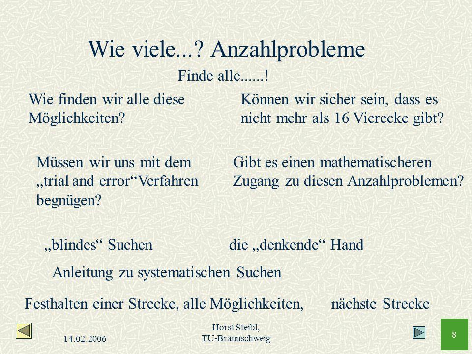 14.02.2006 Horst Steibl, TU-Braunschweig 8 Wie finden wir alle diese Möglichkeiten? Können wir sicher sein, dass es nicht mehr als 16 Vierecke gibt? M