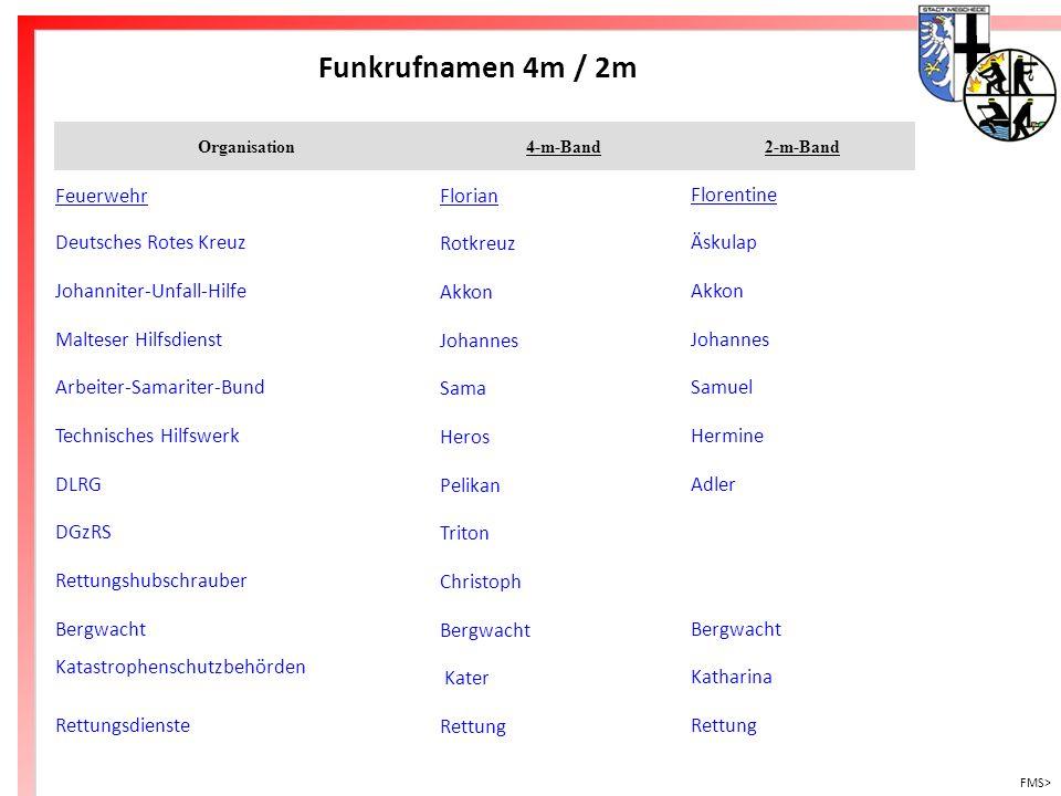 Freiwillige Feuerwehr Meschede Funkrufnamen 4m / 2m FMS> Organisation4-m-Band2-m-Band FeuerwehrFlorianFlorentine Deutsches Rotes KreuzRotkreuzÄskulap