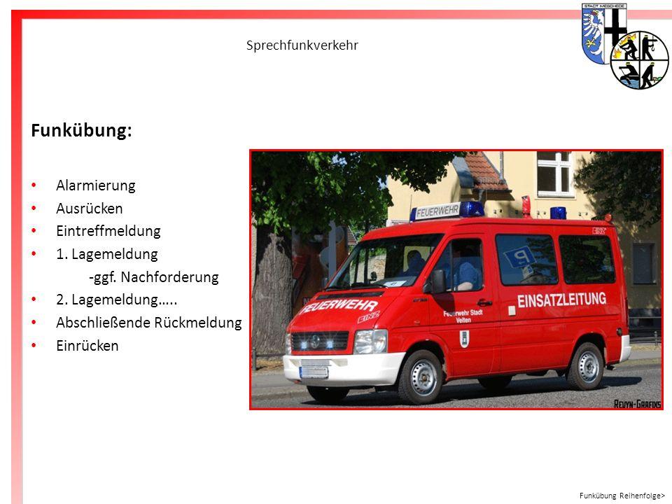 Freiwillige Feuerwehr Meschede Sprechfunkverkehr Funkübung: Alarmierung Ausrücken Eintreffmeldung 1. Lagemeldung -ggf. Nachforderung 2. Lagemeldung…..