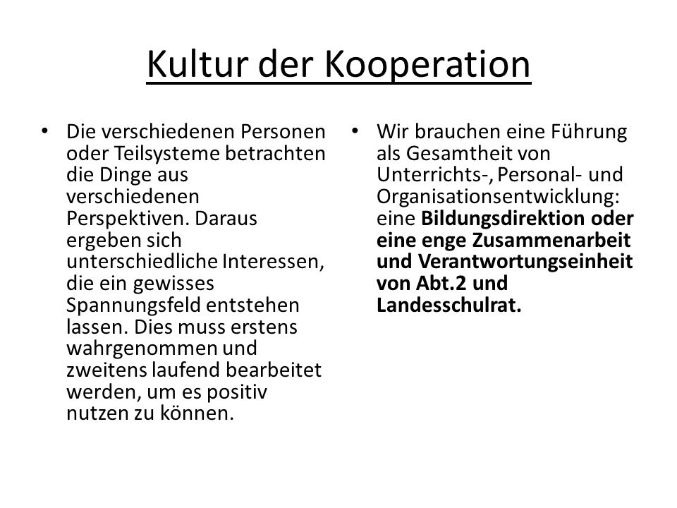 Kultur der Kooperation Die verschiedenen Personen oder Teilsysteme betrachten die Dinge aus verschiedenen Perspektiven.
