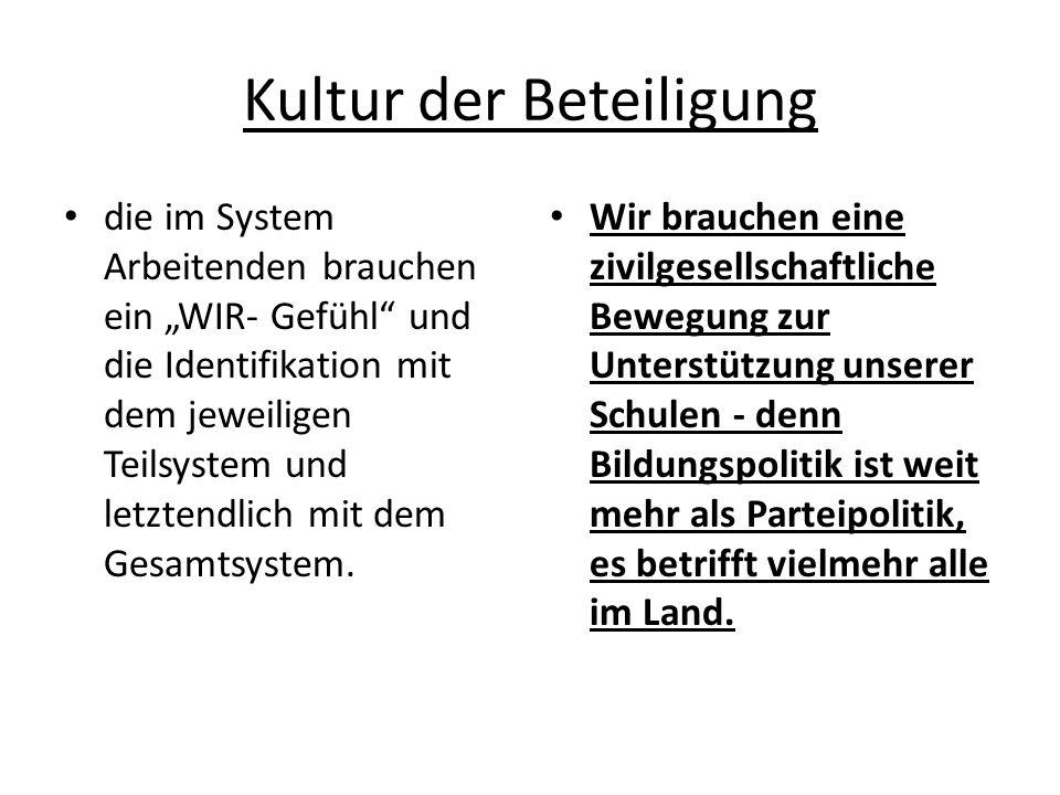 Kultur der Beteiligung die im System Arbeitenden brauchen ein WIR- Gefühl und die Identifikation mit dem jeweiligen Teilsystem und letztendlich mit dem Gesamtsystem.