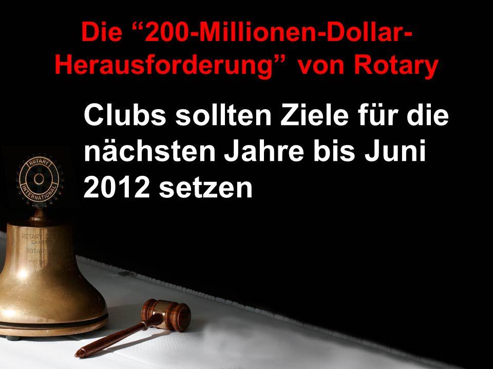 Clubs sollten Ziele für die nächsten Jahre bis Juni 2012 setzen Die 200-Millionen-Dollar- Herausforderung von Rotary