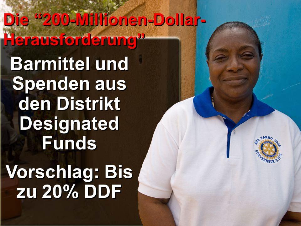 Die 200-Millionen-Dollar- Herausforderung Barmittel und Spenden aus den Distrikt Designated Funds Vorschlag: Bis zu 20% DDF