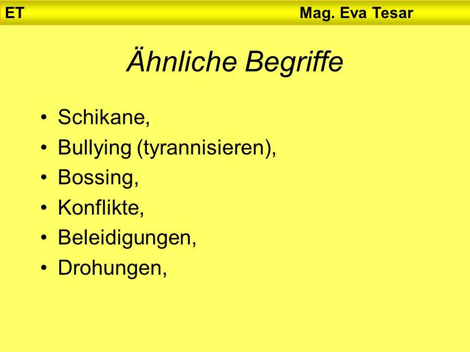 Ähnliche Begriffe Schikane, Bullying (tyrannisieren), Bossing, Konflikte, Beleidigungen, Drohungen, ET Mag. Eva Tesar
