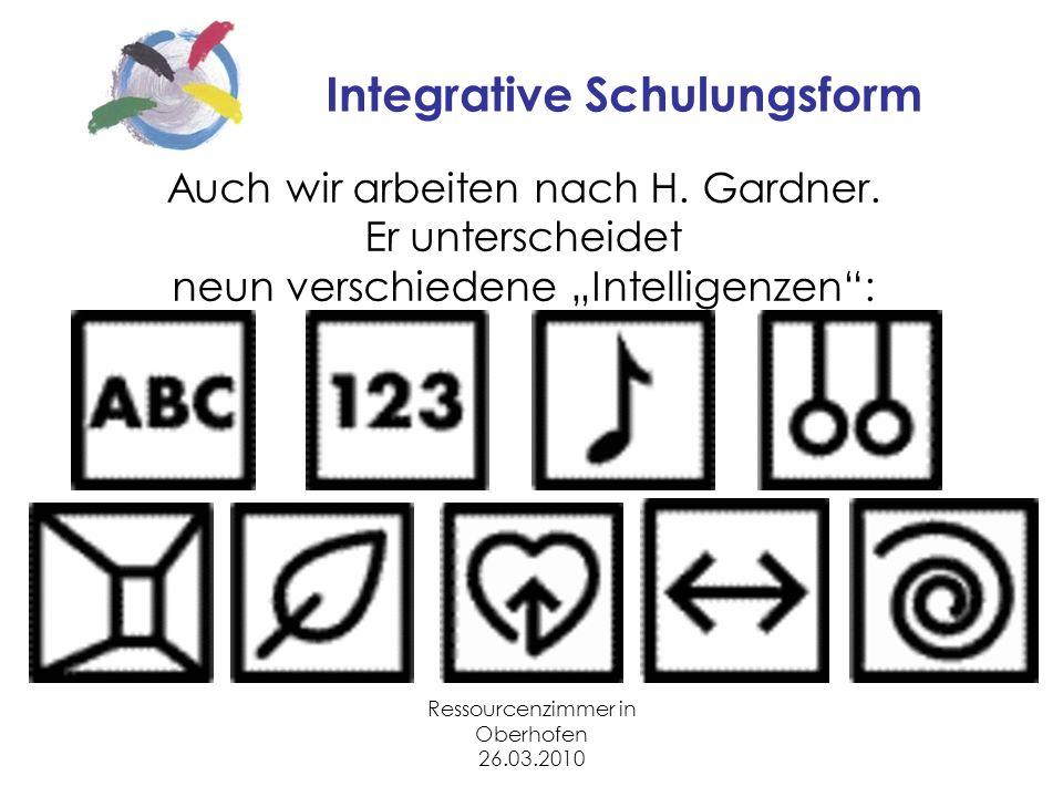 Ressourcenzimmer in Oberhofen 26.03.2010 Integrative Schulungsform Auch wir arbeiten nach H.