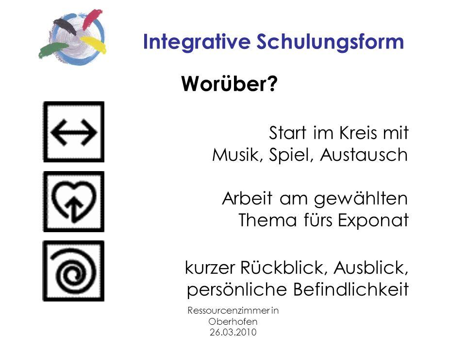Ressourcenzimmer in Oberhofen 26.03.2010 Integrative Schulungsform Worüber.
