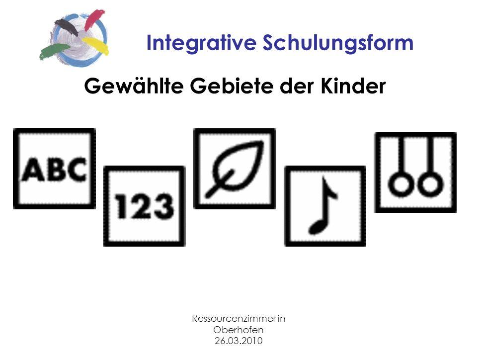 Ressourcenzimmer in Oberhofen 26.03.2010 Integrative Schulungsform Gewählte Gebiete der Kinder