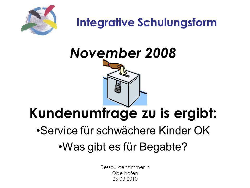Ressourcenzimmer in Oberhofen 26.03.2010 Integrative Schulungsform November 2008 Kundenumfrage zu is ergibt: Service für schwächere Kinder OK Was gibt es für Begabte?