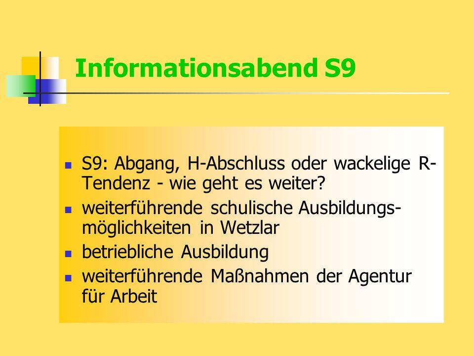 Informationsabend S9 S9: Abgang, H-Abschluss oder wackelige R- Tendenz - wie geht es weiter.