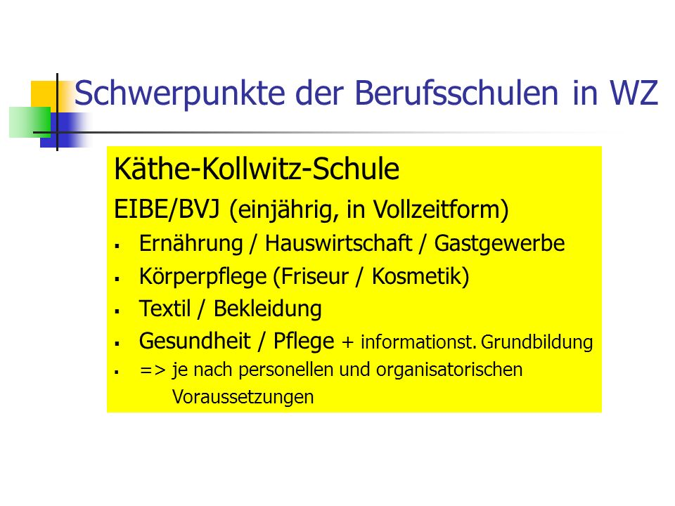 Schwerpunkte der Berufsschulen in WZ Käthe-Kollwitz-Schule EIBE/BVJ (einjährig, in Vollzeitform) Ernährung / Hauswirtschaft / Gastgewerbe Körperpflege (Friseur / Kosmetik) Textil / Bekleidung Gesundheit / Pflege + informationst.