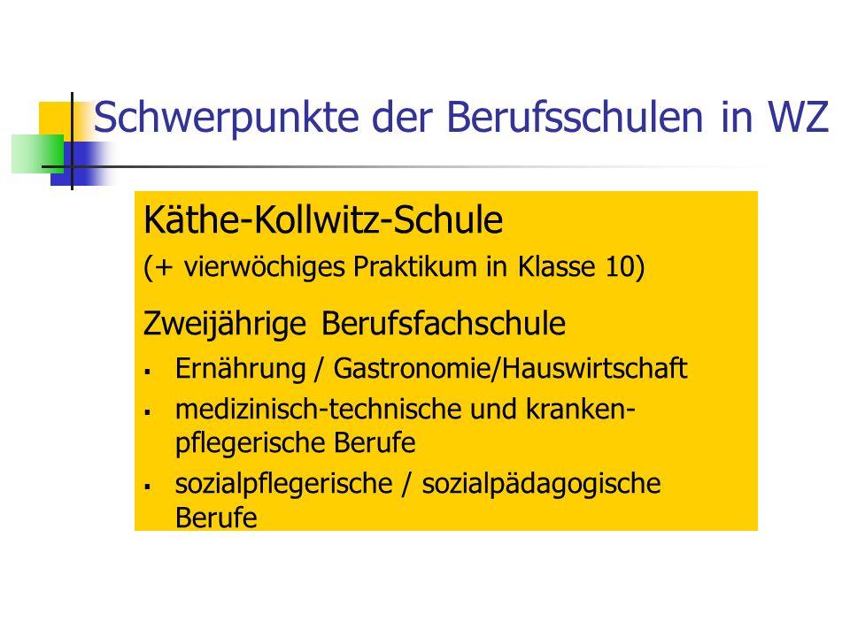 Schwerpunkte der Berufsschulen in WZ Käthe-Kollwitz-Schule (+ vierwöchiges Praktikum in Klasse 10) Zweijährige Berufsfachschule Ernährung / Gastronomie/Hauswirtschaft medizinisch-technische und kranken- pflegerische Berufe sozialpflegerische / sozialpädagogische Berufe