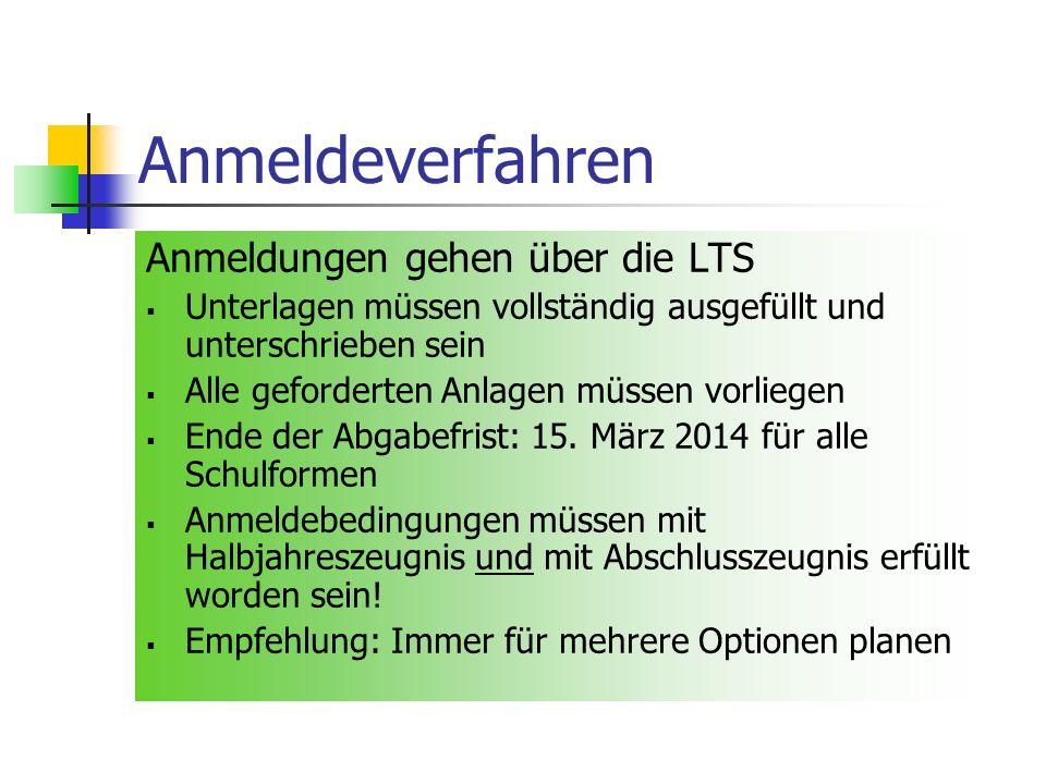 Anmeldeverfahren Anmeldungen gehen über die LTS Unterlagen müssen vollständig ausgefüllt und unterschrieben sein Alle geforderten Anlagen müssen vorliegen Ende der Abgabefrist: 15.