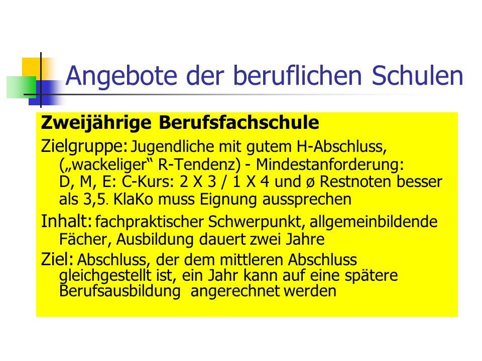 Schwerpunkte der Berufsschulen in WZ Werner-von-Siemens-Schule EIBE (einjähriger Bildungsgang mit Praktika) Fachpraktischer und fachtheoretischer Unterricht in: Metalltechnik, Kfz-Technik, Bautechnik, Holztechnik, Farb- und Raumgestaltung Unterricht in allgemeinbildenden Fächern ggf.