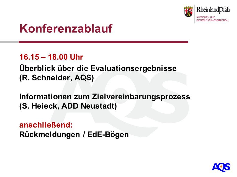 Konferenzablauf 16.15 – 18.00 Uhr Überblick über die Evaluationsergebnisse (R. Schneider, AQS) Informationen zum Zielvereinbarungsprozess (S. Heieck,