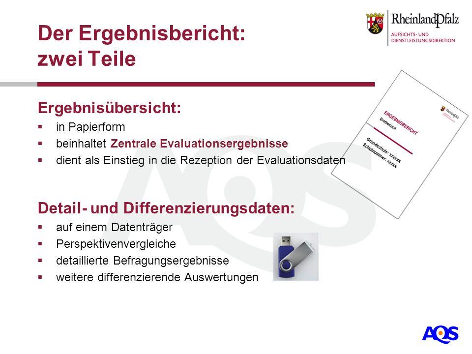 Der Ergebnisbericht: zwei Teile Ergebnisübersicht: in Papierform beinhaltet Zentrale Evaluationsergebnisse dient als Einstieg in die Rezeption der Eva