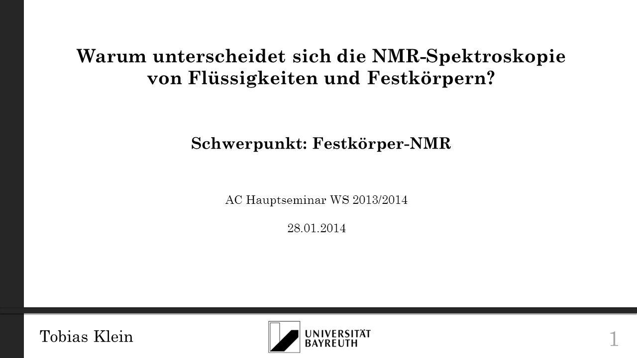 Tobias Klein 22 REDOR Grundlagen Quelle: Gullion, T., Rotational-Echo, Double Resonance NMR.