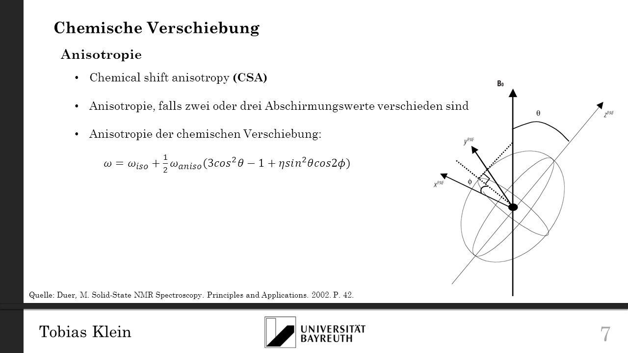Tobias Klein 8 Chemische Verschiebung Anisotropie Einkristall Pulver Quelle: Levitt, M.