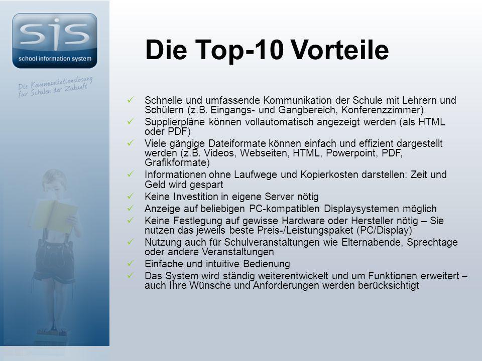 Die Top-10 Vorteile Schnelle und umfassende Kommunikation der Schule mit Lehrern und Schülern (z.B.