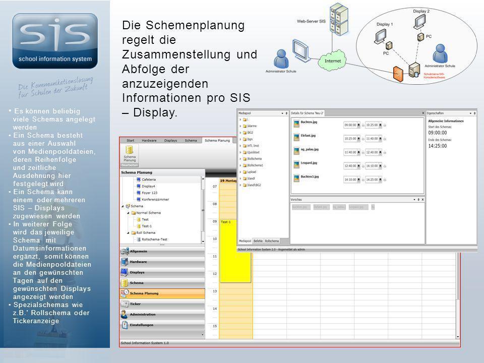 Die Schemenplanung regelt die Zusammenstellung und Abfolge der anzuzeigenden Informationen pro SIS – Display.