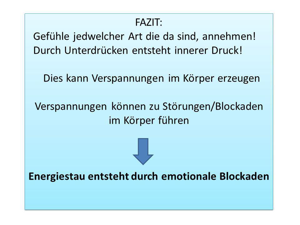 FAZIT: Gefühle jedwelcher Art die da sind, annehmen! Durch Unterdrücken entsteht innerer Druck! Dies kann Verspannungen im Körper erzeugen Verspannung