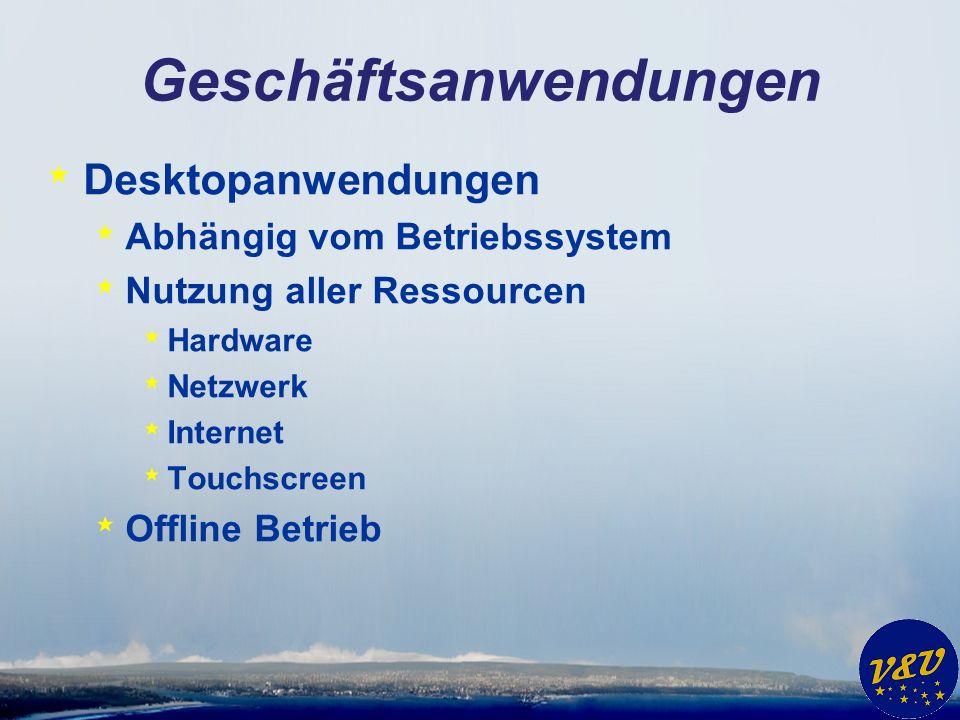 Geschäftsanwendungen * Desktopanwendungen * Abhängig vom Betriebssystem * Nutzung aller Ressourcen * Hardware * Netzwerk * Internet * Touchscreen * Offline Betrieb