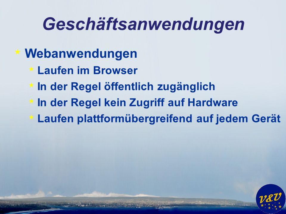 Geschäftsanwendungen * Webanwendungen * Laufen im Browser * In der Regel öffentlich zugänglich * In der Regel kein Zugriff auf Hardware * Laufen plattformübergreifend auf jedem Gerät