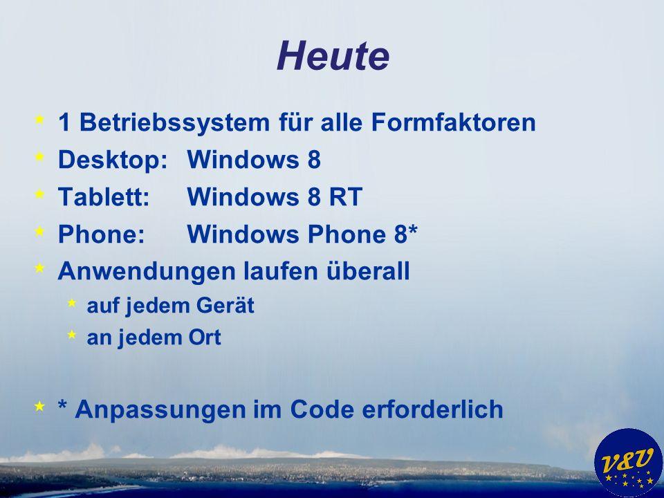 Heute * 1 Betriebssystem für alle Formfaktoren * Desktop:Windows 8 * Tablett:Windows 8 RT * Phone:Windows Phone 8* * Anwendungen laufen überall * auf jedem Gerät * an jedem Ort * * Anpassungen im Code erforderlich
