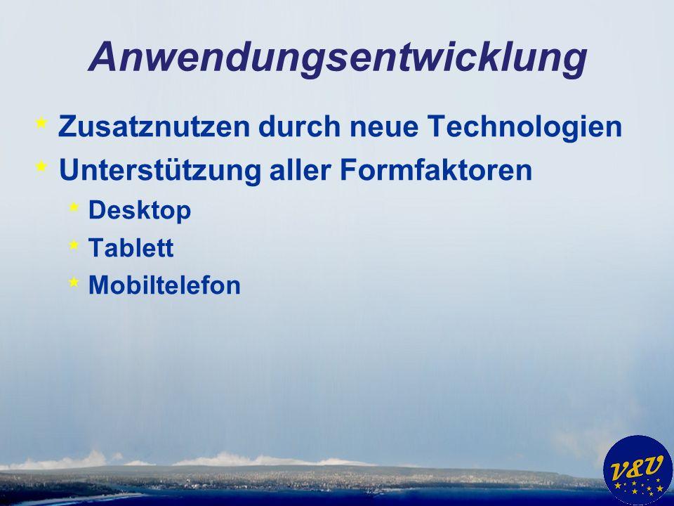 Anwendungsentwicklung * Zusatznutzen durch neue Technologien * Unterstützung aller Formfaktoren * Desktop * Tablett * Mobiltelefon