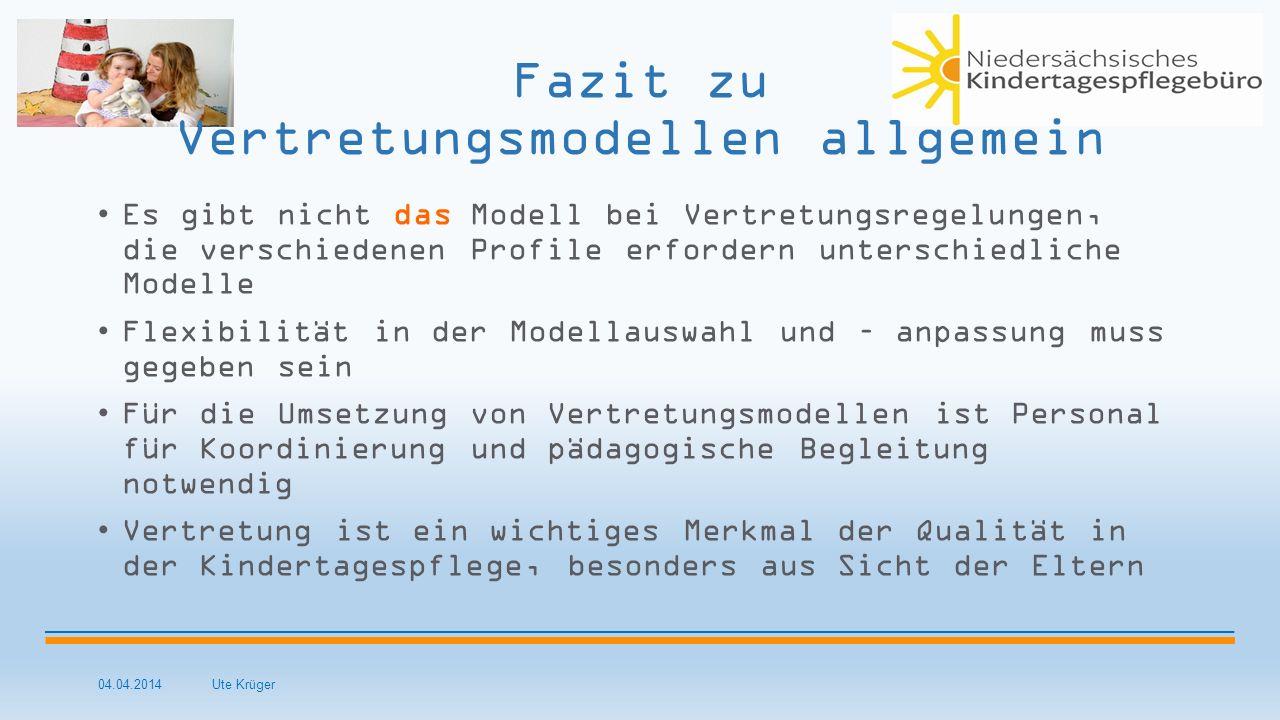 04.04.2014 Ute Krüger Fazit zu Vertretungsmodellen allgemein Es gibt nicht das Modell bei Vertretungsregelungen, die verschiedenen Profile erfordern u