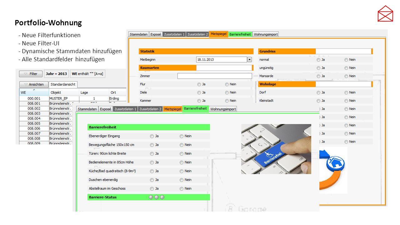Portfolio-Wohnung - Neue Filterfunktionen - Neue Filter-UI - Dynamische Stammdaten hinzufügen - Alle Standardfelder hinzufügen