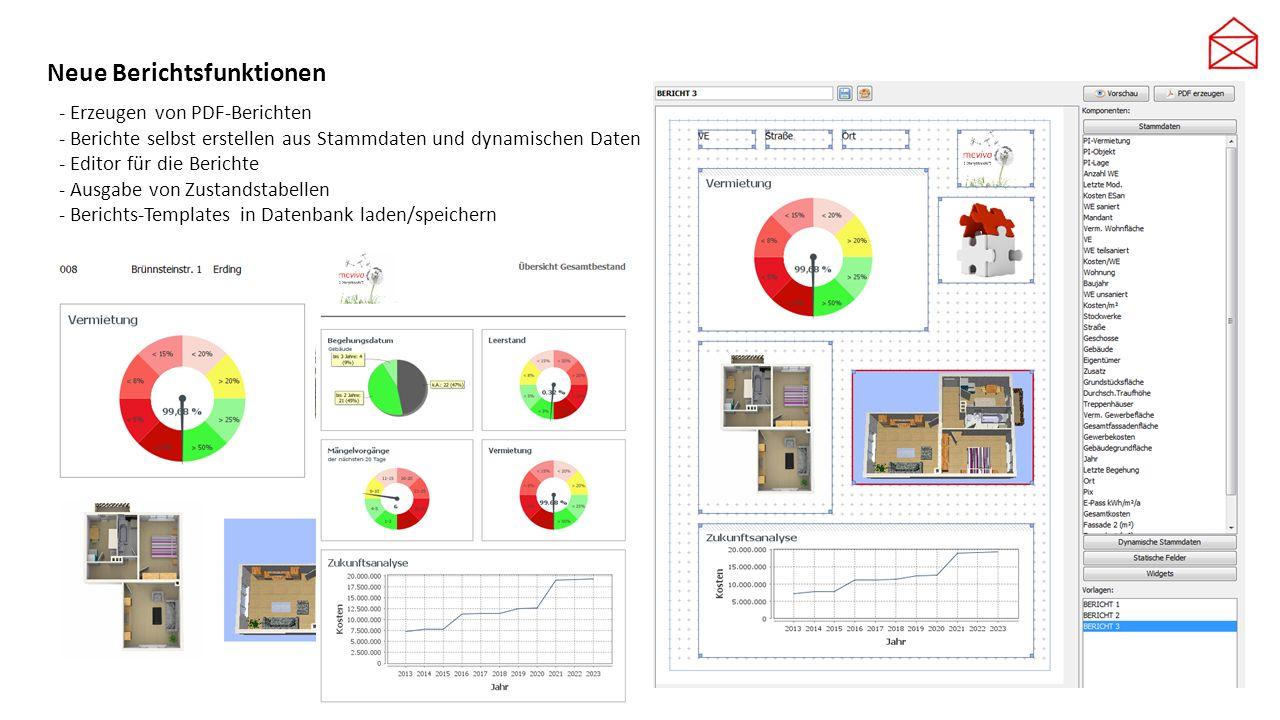 Neue Berichtsfunktionen - Erzeugen von PDF-Berichten - Berichte selbst erstellen aus Stammdaten und dynamischen Daten - Editor für die Berichte - Ausg