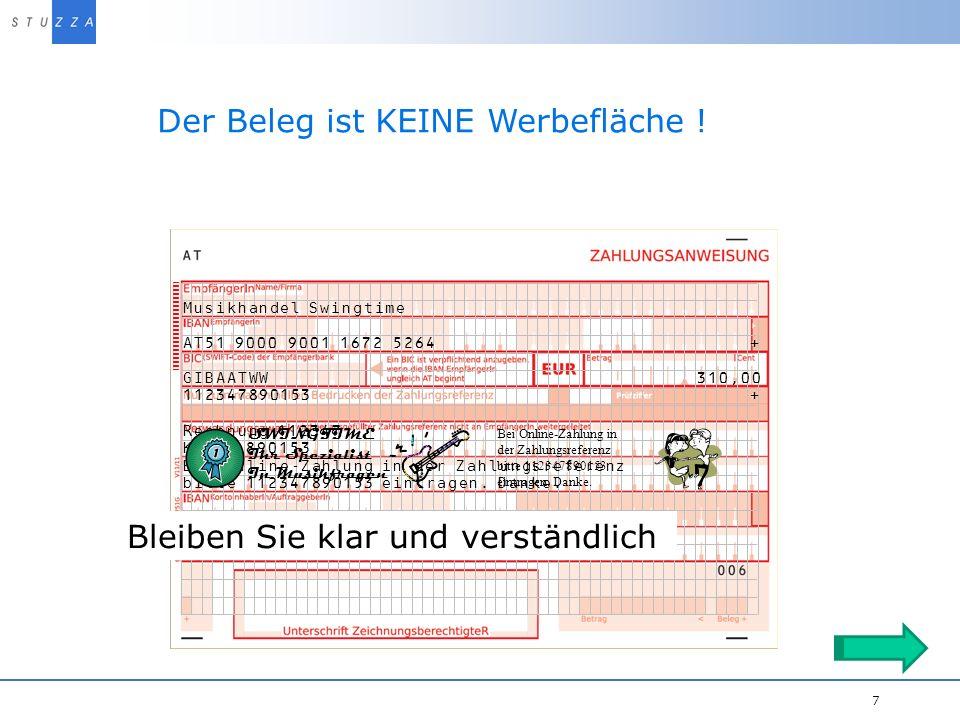 Vortragstitel/Projekt 7 Der Beleg ist KEINE Werbefläche .