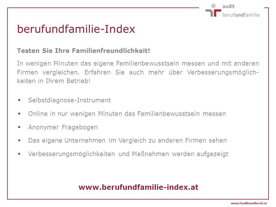 berufundfamilie-Index www.berufundfamilie-index.at Testen Sie Ihre Familienfreundlichkeit! In wenigen Minuten das eigene Familienbewusstsein messen un