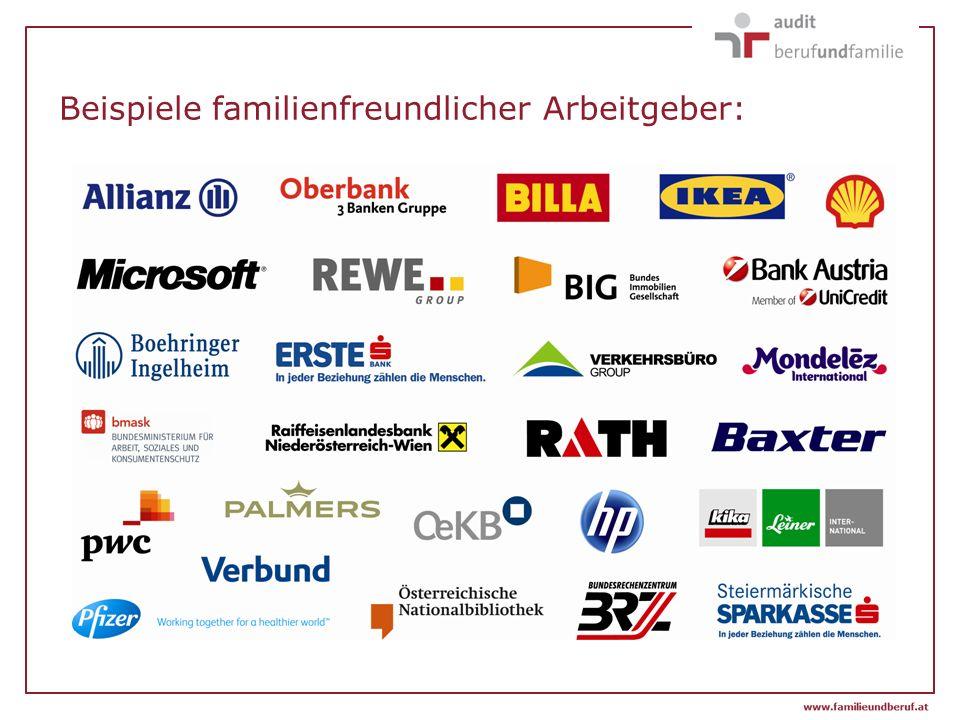 Beispiele familienfreundlicher Arbeitgeber: