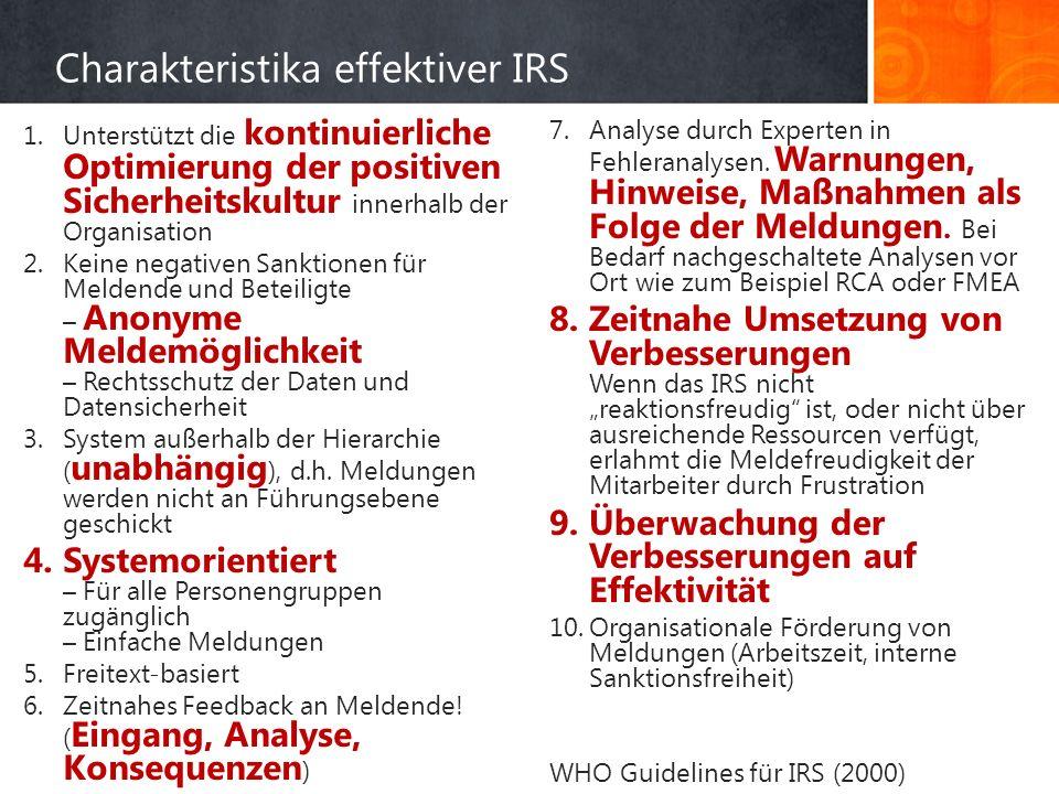 Charakteristika effektiver IRS 1.Unterstützt die kontinuierliche Optimierung der positiven Sicherheitskultur innerhalb der Organisation 2.Keine negativen Sanktionen für Meldende und Beteiligte – Anonyme Meldemöglichkeit – Rechtsschutz der Daten und Datensicherheit 3.System außerhalb der Hierarchie ( unabhängig ), d.h.