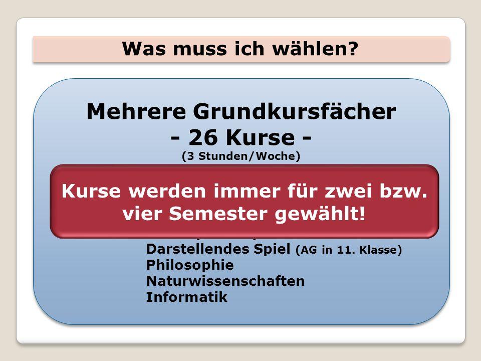 Was muss ich wählen? Mehrere Grundkursfächer - 26 Kurse - (3 Stunden/Woche) Wahl:weitere Fremdsprachen Kunst Musik Musik (Zusatz) Darstellendes Spiel