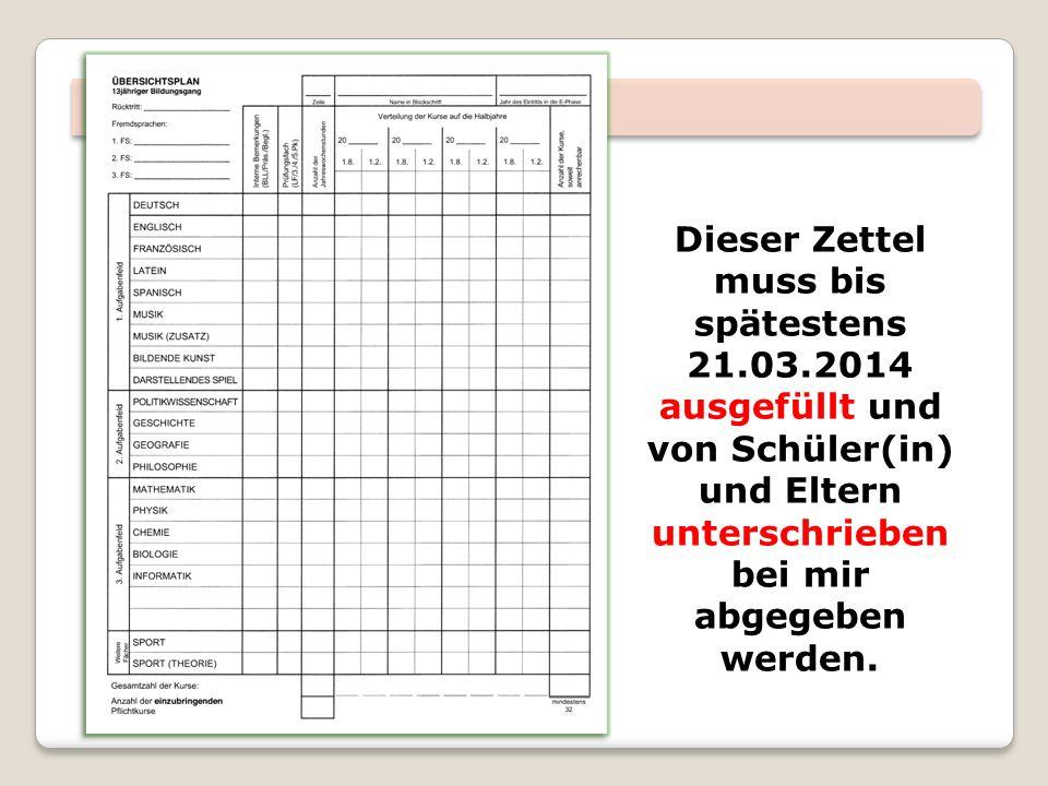Dieser Zettel muss bis spätestens 21.03.2014 ausgefüllt und von Schüler(in) und Eltern unterschrieben bei mir abgegeben werden.